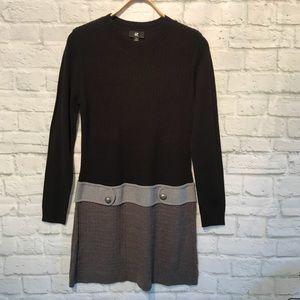 iz Buyer Black/Gray Long Sleeved Sweater Dress